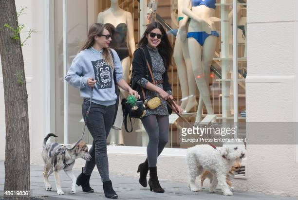 Adriana Ugarte is seen walking her dog with a friend on April 22 2014 in Madrid Spain