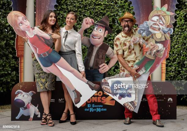 Adriana Ugarte Michelle Jenner and Jose Corbacho attend the 'Tadeo Jones 2 El secreto del Rey Midas' photocall at the Ritz hotel on August 22 2017 in...