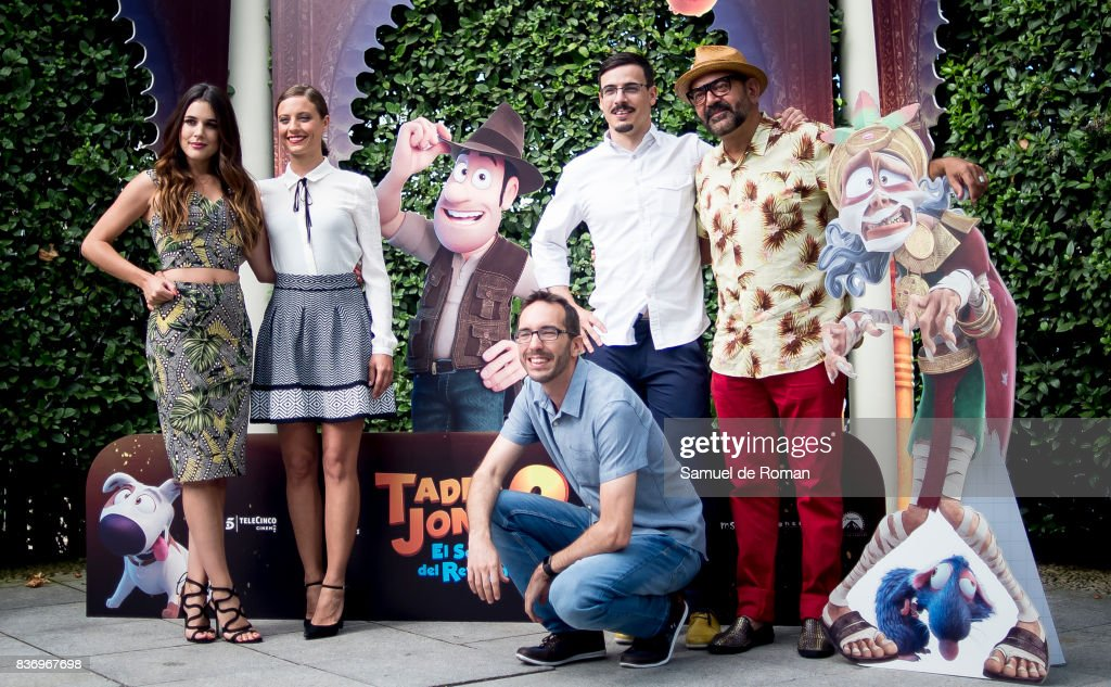 Adriana Ugarte, Michelle Jenner, Enrique Gato, David Alonso and Jose Corbacho during 'Tadeo Jones 2. El Secreto Del Rey Midas' Madrid Photocall on August 22, 2017 in Madrid, Spain.