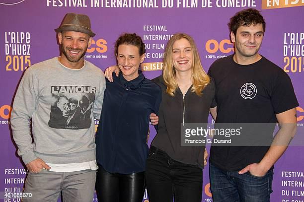 Adrianna Gradziel Pio Marmai Franck Gastambide and Camille Cottin attend the closing ceremony of the 18th L'Alpe D'Huez International Comedy Film...