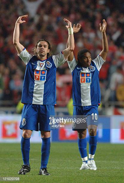 Adriano and Anderson during a Portuguese premier league match between SL Benfica and FC Porto in Lisbon Portugal on April 1 2007