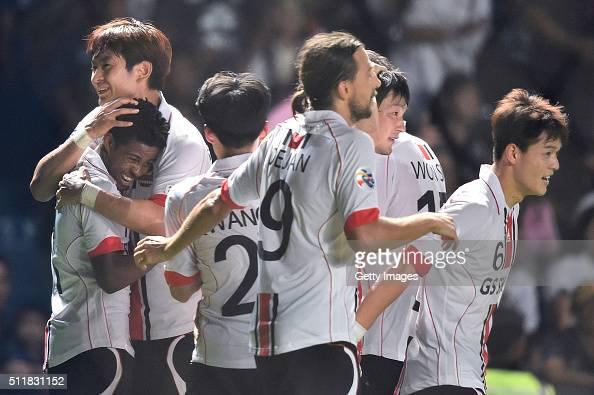 Adriano Calors of FC Seoul celebrates celebrates during the AFC Champions League match between Buriram United and FC Seoul at Buriram on February 23...