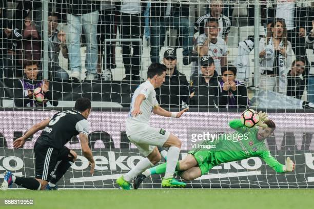 Adriano Correia Claro of Besiktas JK Andre de Castro Pereira of Kasimasa AS goalkeeper Fabricio Martin Agosto Ramirez of Besiktas JKduring the...