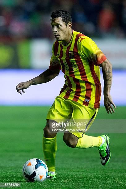 Adriano Correia Claro of FC Barcelona controls the ball during the La Liga match between CA Osasuna and FC Barcelona at El Sadar stadium on October...