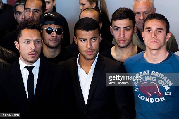 Adriano Correia Neymar Santos Jr Rafinha Munir El Haddadi and Sandro Ramirez of FC Barcelona pay tribute to late Dutch football star Johan Cruyff in...