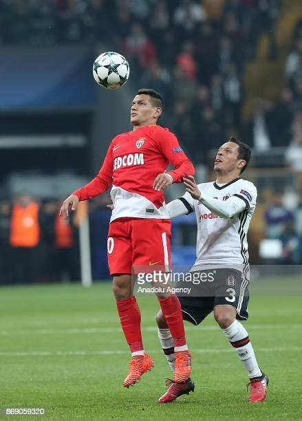 Adriano Correia of Besiktas in action against Stevan Jovetic of Monaco during UEFA Champions League Group G match between Besiktas and Monaco at the...