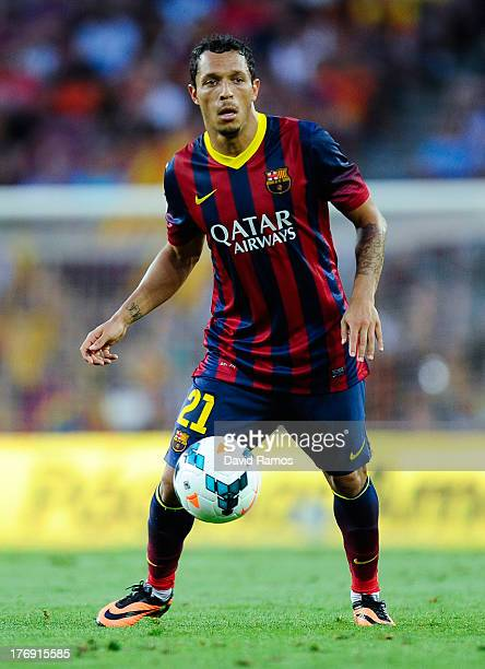 Adriano Correia of FC Barcelona controls the ball during the La Liga match between FC Barcelona and Levante UD at Camp Nou on August 18 2013 in...