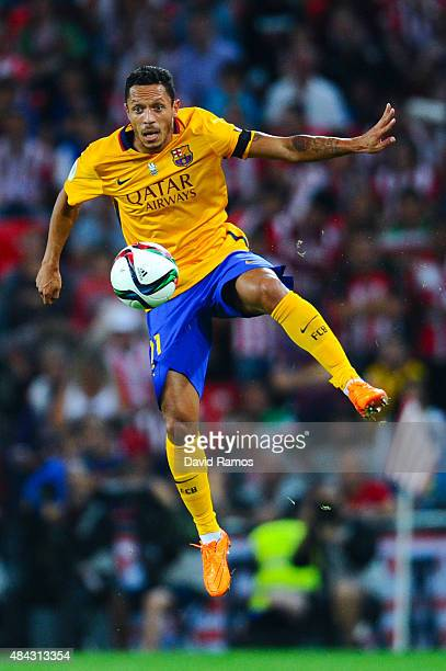 Adriano Correia of FC Barcelona controls the ball during the Spanish Super Cup first leg match between FC Barcelona and Athletic Club at San Mames...