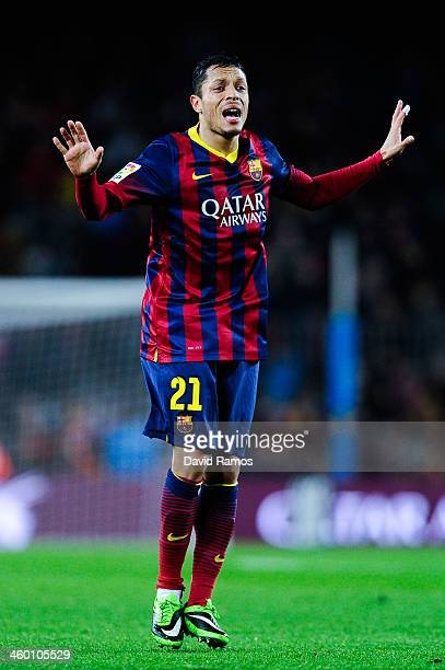 Adriano Correia of FC Barcelona reacts during the Copa del Rey round of 32 second leg match between FC Barcelona and Cartagena at Camp Nou on...