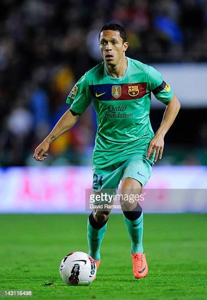 Adriano Correia of FC Barcelona runs with the ball during the La Liga match between Levante UD and FC Barcelona at Ciutat de Valencia on April 14...