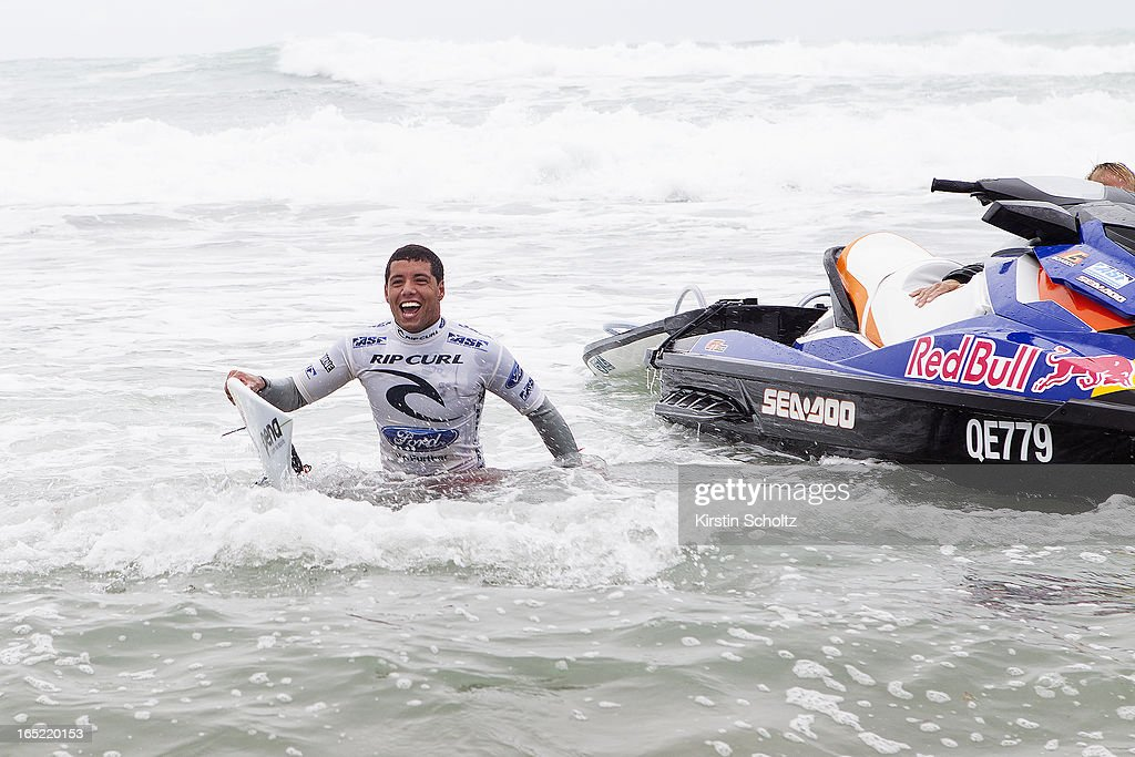 Adriano De Souza of Brasil celebrates his victory after winning the Rip Curl Pro on April 2, 2013 in Bells Beach, Australia.