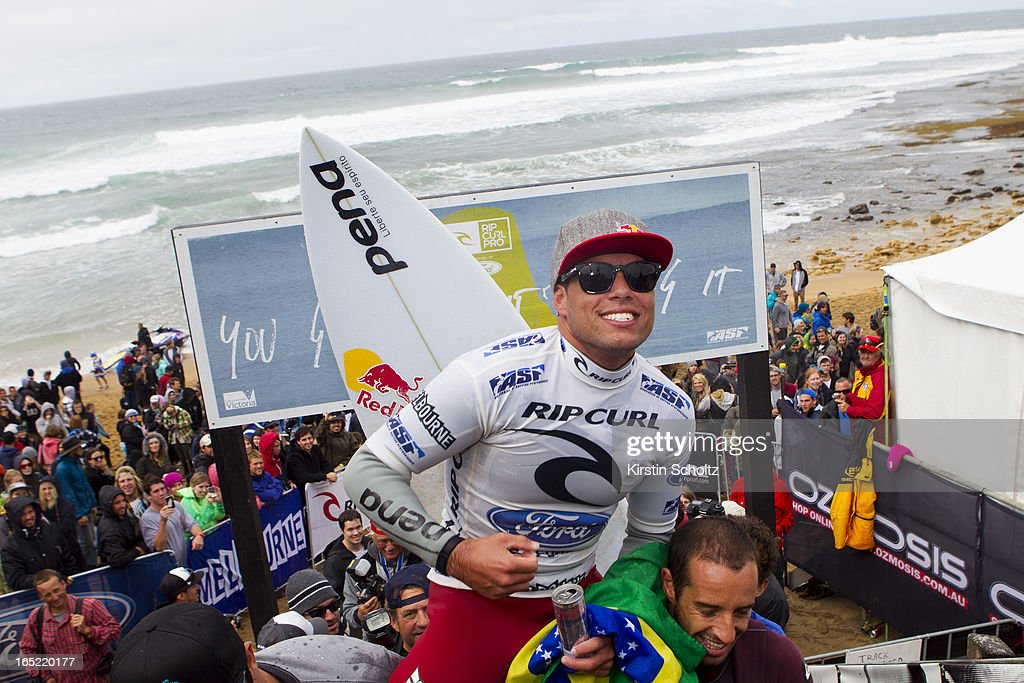 Adriano De Souza of Brasil celebrates his victory as he is carried up the stairs after winning the Rip Curl Pro on April 2, 2013 in Bells Beach, Australia.