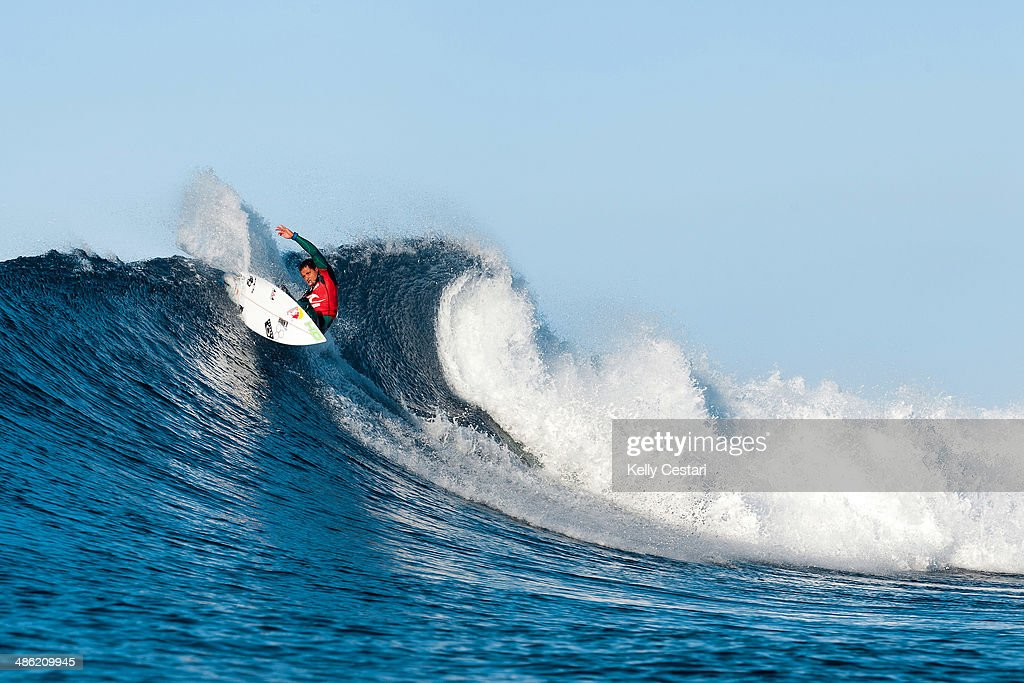 <a gi-track='captionPersonalityLinkClicked' href=/galleries/search?phrase=Adriano+de+Souza&family=editorial&specificpeople=624048 ng-click='$event.stopPropagation()'>Adriano de Souza</a> of Brasil placed equal 5th in the Ripcurl Pro Bells Beach after placing second in his quarterfinal heat on April 23, 2014 in Bells Beach, Australia.