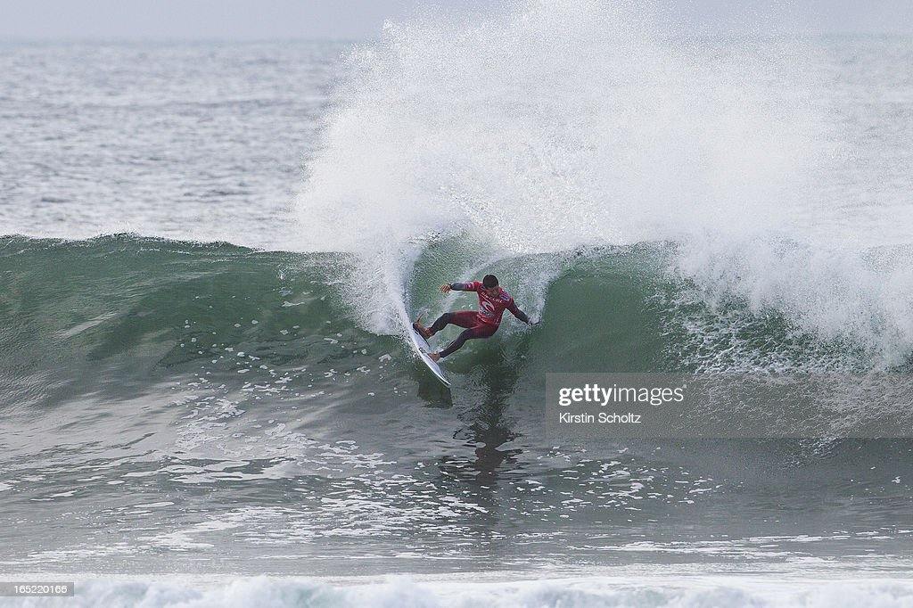 Adriano De Souza of Brasil surfs to victory on April 2, 2013 in Bells Beach, Australia.