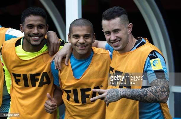 Adriano Freitas of Uruguay Santiago Viera of Uruguay and Rodrigo Amaral of Uruguay pose for a picture during the FIFA U20 World Cup Korea Republic...
