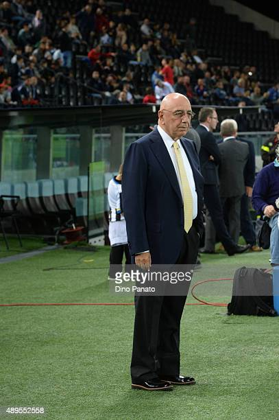 Adriano Galliani AD of AC Milan looks on before the Serie A match between Udinese Calcio and AC Milan at Stadio Friuli on September 22 2015 in Udine...