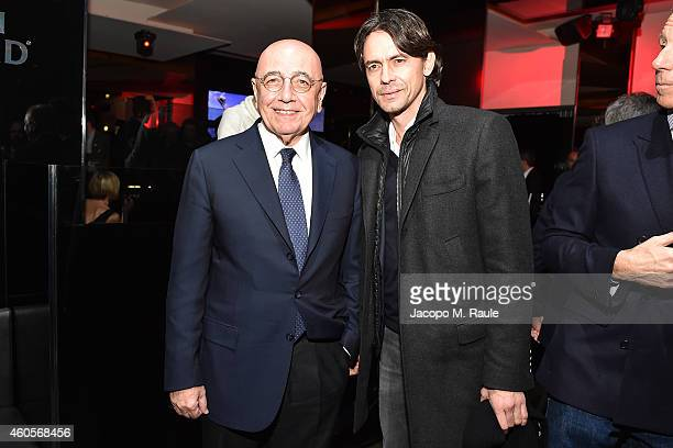Adriano Galliani and Filippo Inzaghi attend Infront Christmas Party on December 16 2014 in Milan Italy