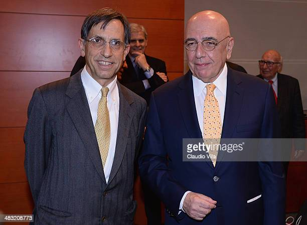 Adriano Galliani and Giorgio Ghirelli during 'Antonio Ghirelli' Prize at Sala Montanelli on April 7 2014 in Milan Italy
