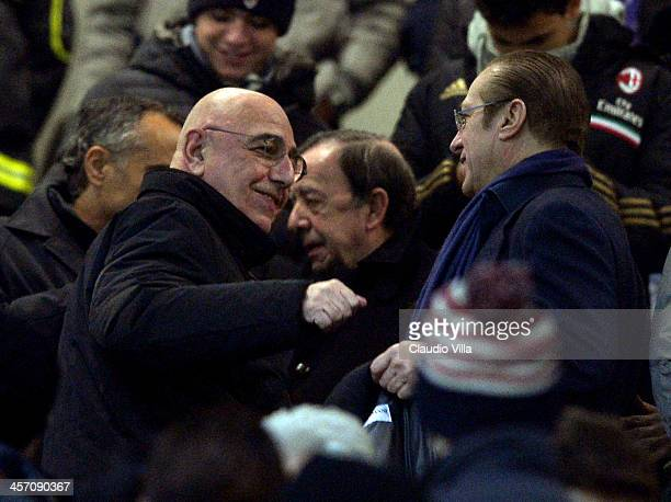 Adriano Galliani and Paolo Berlusconi attend the Serie A match between AC Milan and AS Roma at San Siro Stadium on December 16 2013 in Milan Italy