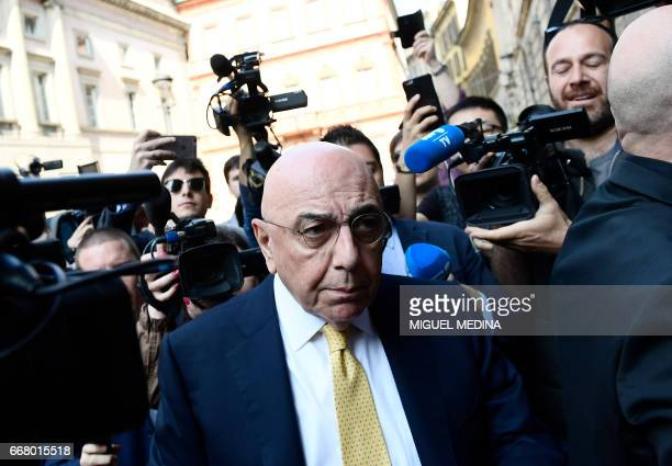 Adriano Galliani CEO of Italian Serie A football club AC Milan arrives at a notary's office where representatives of Fininvest the Silvio...