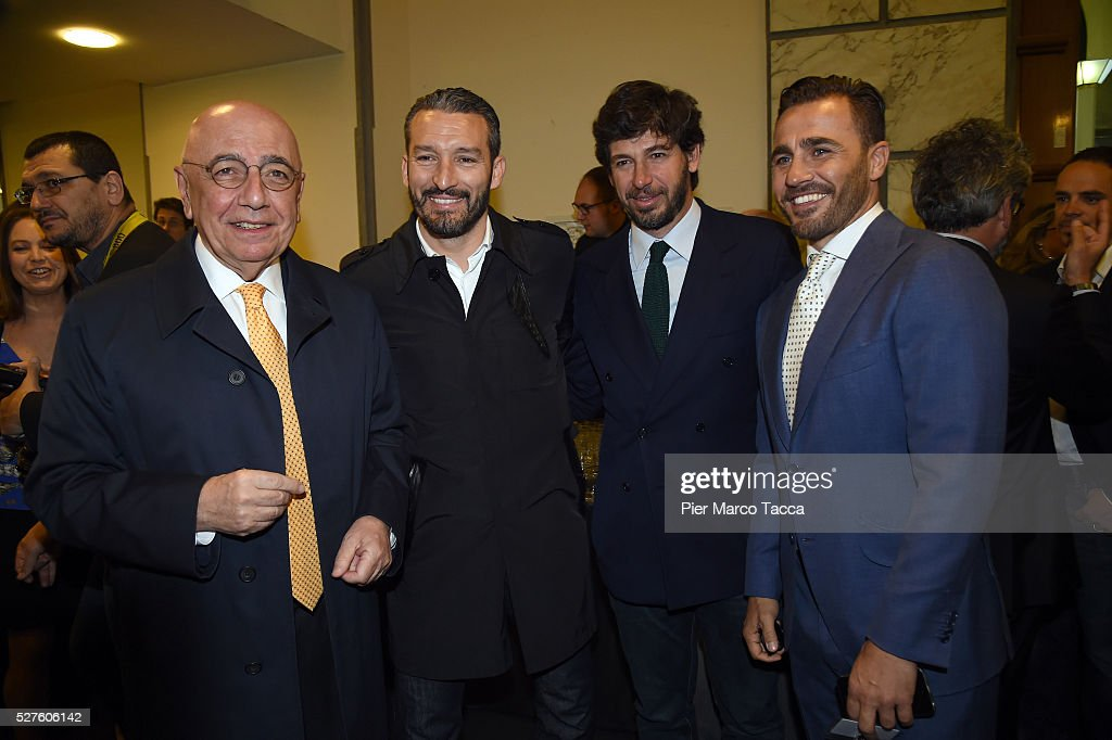 Adriano Galliani, Gianluca Zambrotta, Demetrio Albertini and Fabio Cannavaro attend the Technogym Listing Ceremony at Palazzo Mezzanotte on May 3, 2016 in Milan, Italy. Technogym is the world leader in the construction of equipment for gyms, founded in 1983 by Nerio Alessandri, and was listed today on the Milan Stock Exchange.