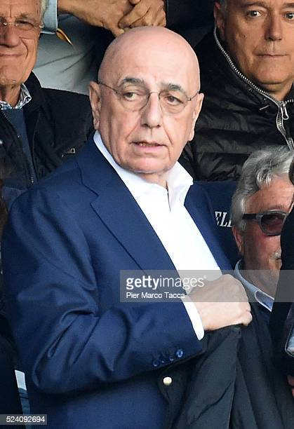 Adriano Galliani looks during the Serie A match between Hellas Verona FC and AC Milan at Stadio Marc'Antonio Bentegodi on April 25 2016 in Verona...