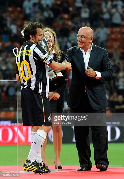 Adriano Galliani of AC Milan congratulates Alessandro Del Piero of Juventus FC during the Berlusconi Trophy match between Milan and Juventus at...