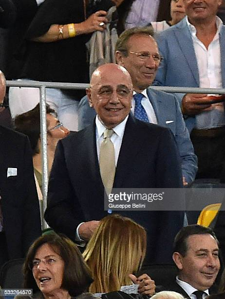 Adriano Galliani of AC Milan prior the TIM Cup match between AC Milan and Juventus FC at Stadio Olimpico on May 21 2016 in Rome Italy