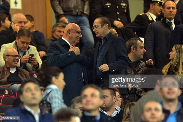 Adriano Galliani Paolo Berlusconi look on during the Serie A match between AC Milan and Udinese Calcio at Giuseppe Meazza Stadium on October 19 2013...