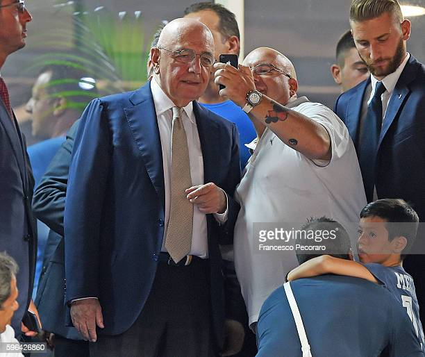 Adriano Galliani the Amministrator of AC Milan and fans looks on prior to the Serie A match between SSC Napoli and AC Milan at Stadio San Paolo on...