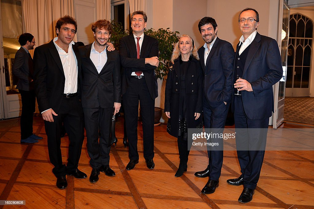Adriano Giannini, Giorgio Pasotti, Marco Freschi, Citroen Italy Head Press Office and Public Relations, Franca Sozzani, Vogue Italia Editor in Chief, Pierfrancesco Favino, and Massimo Borio, Citroen Director of Marketing and Communications, attend the charity auctioning of the first 'Citroen DS3 Cabrio L'Uomo Vogue' hosted by L'Uomo Vogue and Citroen at the Permanent Mission of France to the United Nations Office on March 6, 2013 in Geneva, Switzerland.