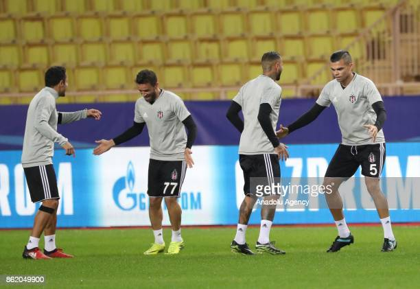 Adriano Gokhan Gonul Quaresma and Pepe of Besiktas attend a training session ahead of UEFA Champions League Group G match between Monaco and Besiktas...