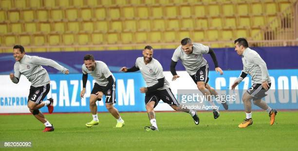 Adriano Gokhan Gonul Quaresma Pepe and Medel of Besiktas attend a training session ahead of UEFA Champions League Group G match between Monaco and...