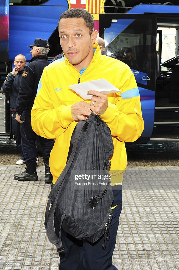 Adriano is seen arriving at hotel before the match against Malaga CF for the Copa del Rey Quarter Final on January 24, 2013 in Malaga, Spain.