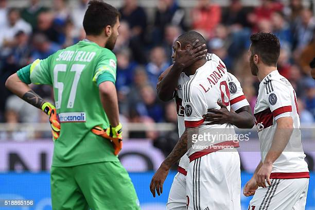 Adriano of AC Milan celebrates with team mate after scoring the opening goal from the penalty spot during the Serie A match between Atalanta BC and...