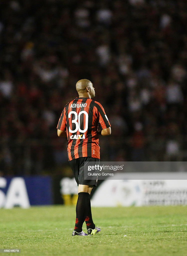 Adriano of Atletico Paranaense in action during a match between Atletico Paranaense and The Strongest as part of Copa Bridgestone Libertadores 2014 at Durival Britto Stadium on February 13, 2014 in Curitiba, Parana, Brazil.