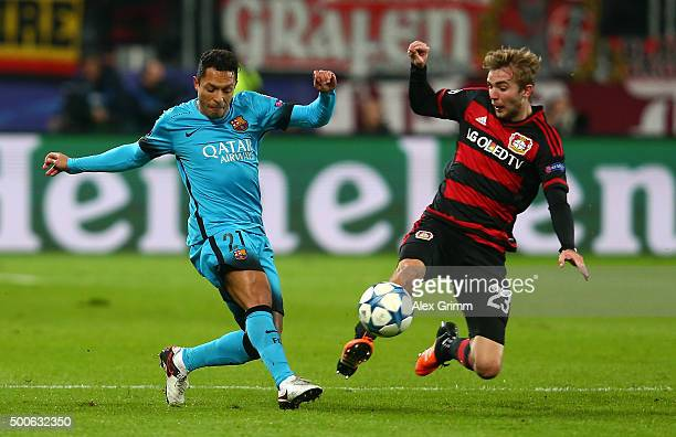 Adriano of Barcelona and Christoph Kramer of Bayer Levekusen in action during the UEFA Champions League Group E match between Bayer 04 Leverkusen and...