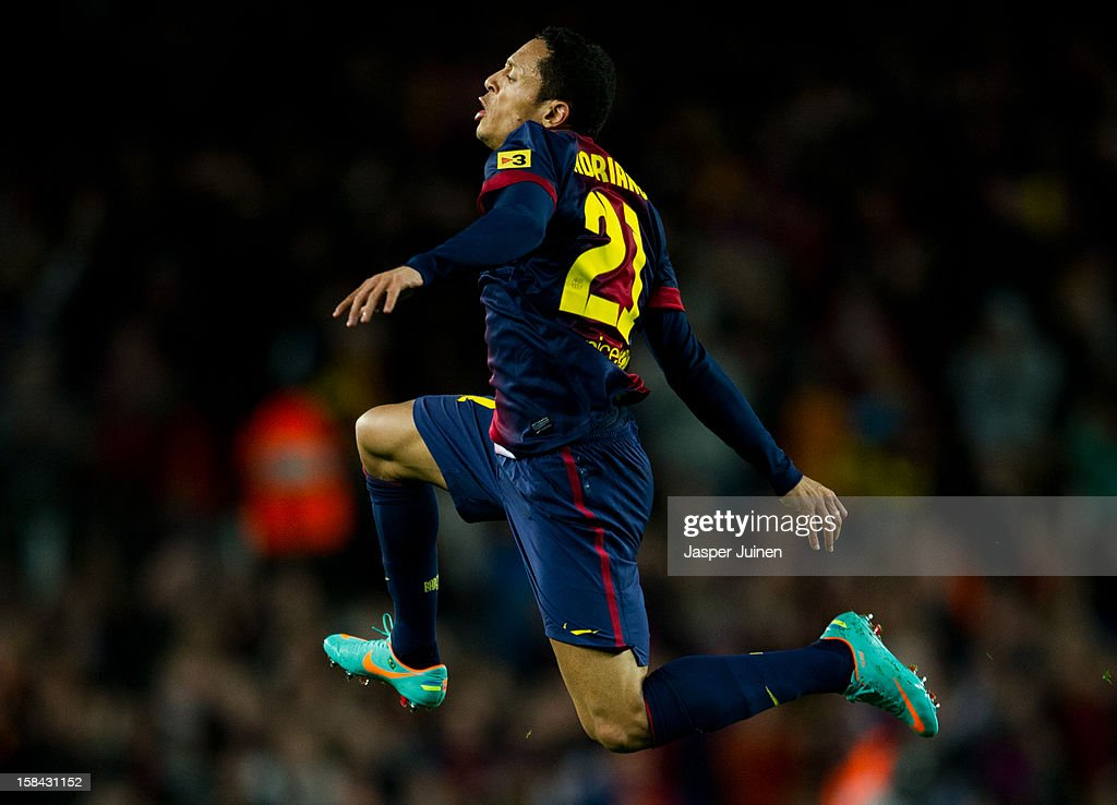 Adriano of Barcelona celebrates scoring his sides equalizing goal during the la Liga match between FC Barcelona and Club Atletico de Madrid at the Camp Nou stadium on December 16, 2012 in Barcelona, Spain.