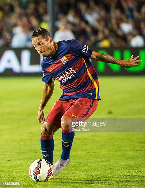 Adriano of Barcelona on the ball during the International Champions Cup 2015 match between FC Barcelona and Los Angeles Galaxy at the Rose Bowl on...