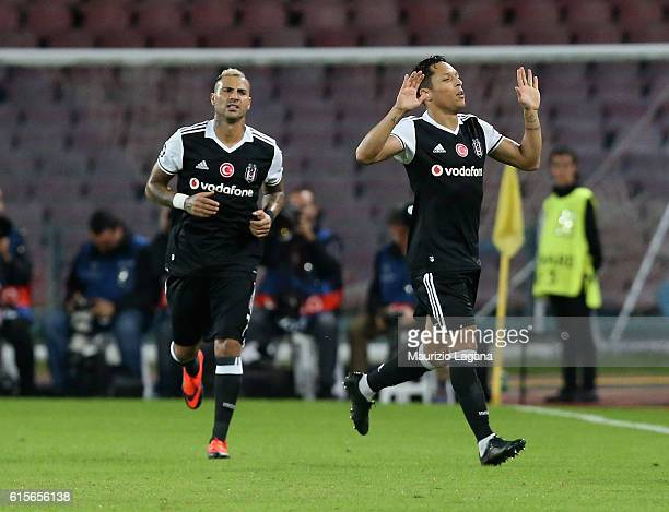 Adriano of Besiktas celebrates after scoring his team's opening goal during the UEFA Champions League match between SSC Napoli and Besiktas JK at...