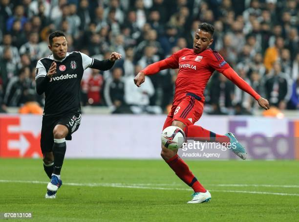 Adriano of Besiktas in action against Corentin Tolisso during the match between Besiktas and Olympique Lyonnais UEFA Europa League quarter final...