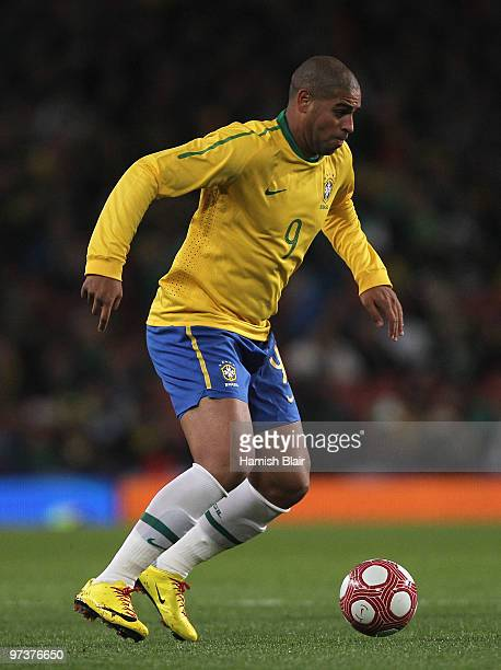 Adriano of Brazil in action during the International Friendly match between Republic of Ireland and Brazil played at Emirates Stadium on March 2 2010...