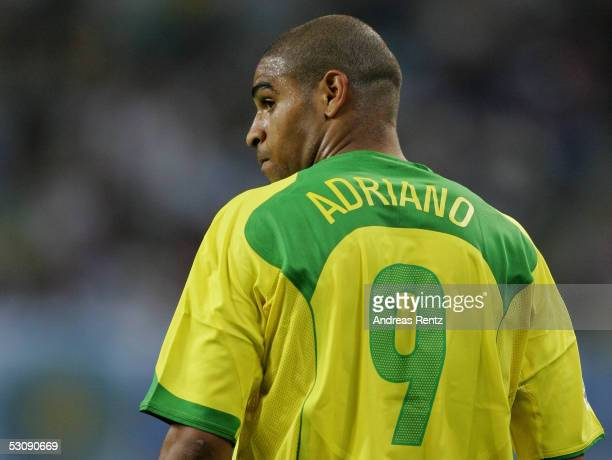 Adriano of Brazil looks on during the FIFA Confederations Cup 2005 match between Brazil and Greece on June 16 2005 in Leipzig Germany