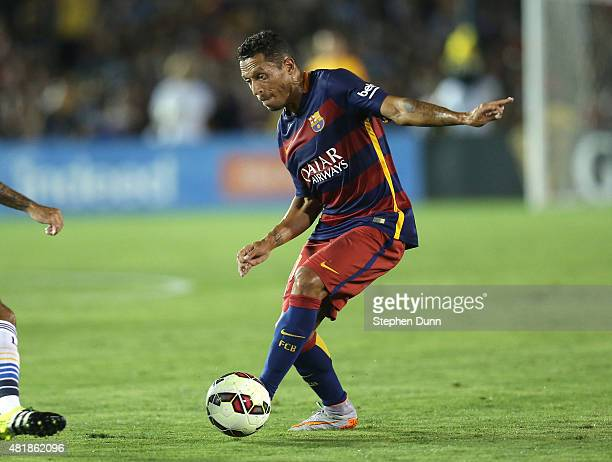 Adriano of FC Barcelona controls the ball against the Los Angeles Galaxy in the International Champions Cup 2015 at Rose Bowl on July 21 2015 in...