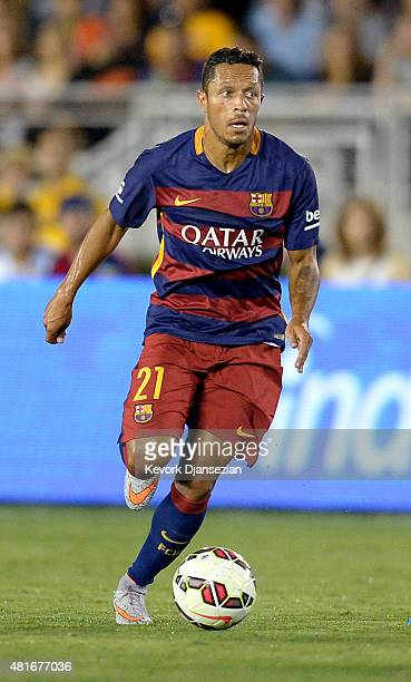 Adriano of FC Barcelona drives the ball during the first half of friendly soccer match against Los Angeles Galaxy in the International Champions Cup...