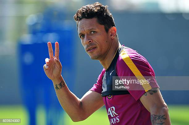 Adriano of FC Barcelona saluting the press during FCBarcelona training session April 19 2016 in Barcelona Spain