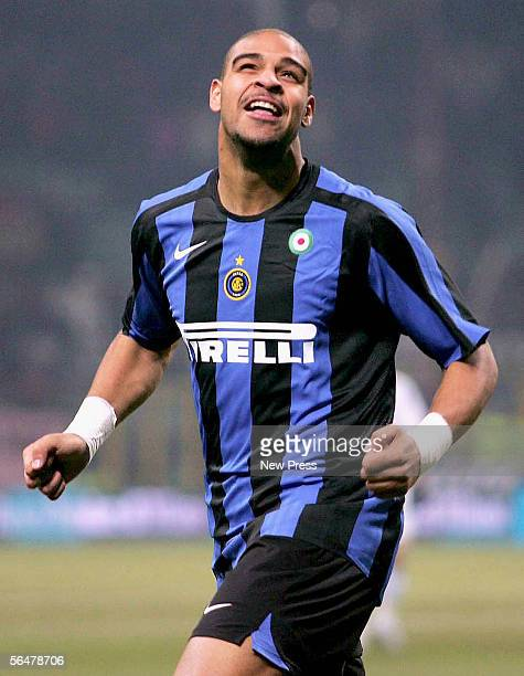 Adriano of Inter celebrates scoring during the Serie A match between Inter Milan and Empoli at the Giuseppe Meazza San Siro Stadium on December 21...