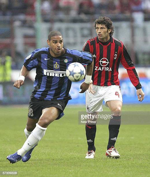 Adriano of Inter goes past Kakha Kaladze of AC Milan during the Serie A match between AC Milan and Inter Milan at the San Siro on April 14 2006 in...