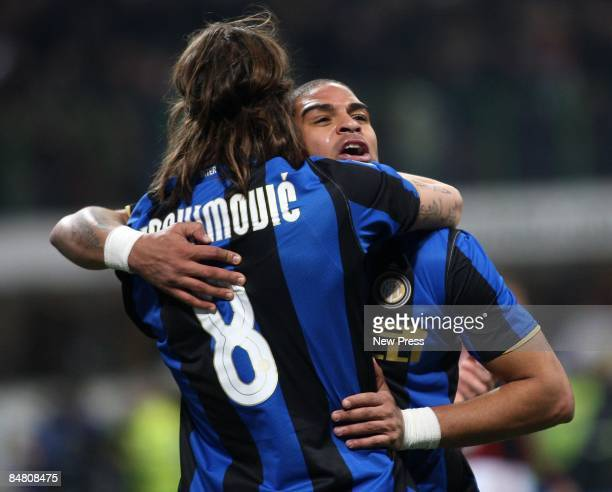 Adriano of Inter Milan is congratulated by Zlatan Ibrahimovic of Inter Milan after scoring the first goal during the Serie A match between Inter and...