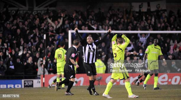 Adriano Rigoglioso celebrates along with Forest Green's fans after their teams third goal during the FA Cup Third Round match at New Lawn Stadium...